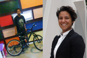 At left, LCCC student, Nacho, stands with his new bike. At right, LCCC Success Coach Esperanza Correa.