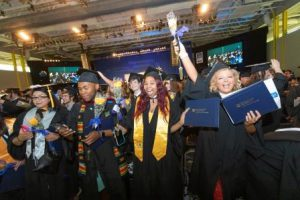 Graduates celebrate following the LCCC graduation ceremony.