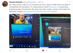 Tweet screenshot of Vince Granito using online platform to connect with students.
